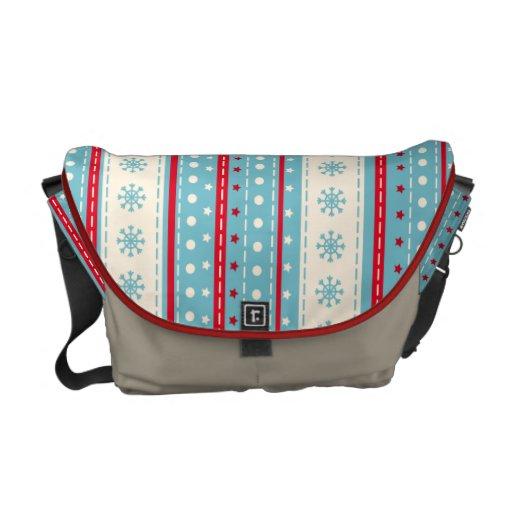 El modelo del copo de nieve raya el bolso bolsas messenger