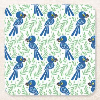 El modelo del Macaw del jacinto Posavasos De Cartón Cuadrado