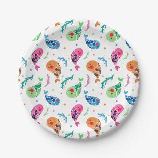 El modelo feliz de los pescados plato de papel de 7 pulgadas