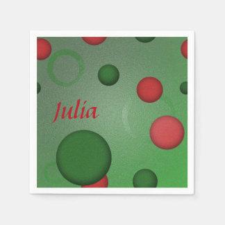 El modelo geométrico puntea círculos en verde servilletas de papel