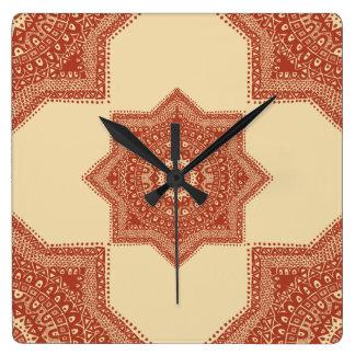 El modelo marroquí rojo reloj cuadrado