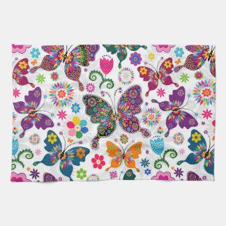 El modelo retro colorido de la mariposa y de flore toallas