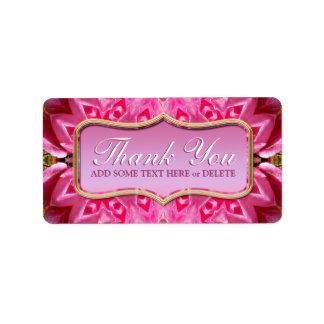 El modelo rosado de los pétalos le agradece las et etiqueta de dirección