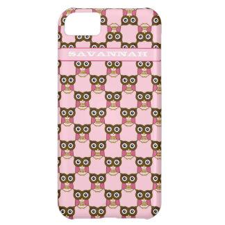 El modelo rosado lindo del búho elige color del funda para iPhone 5C