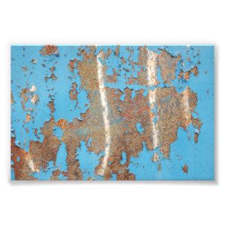 El MOHO AZUL Corroded-metal1617 TEXTURIZA los META Impresion Fotografica