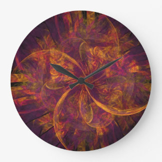 El molinillo de viento púrpura reloj redondo grande