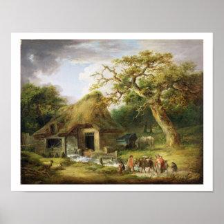 El molino de agua viejo, 1790 (aceite en lona) póster