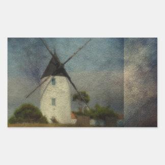 El molino de viento pegatina rectangular