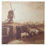 El molino de viento y la cerradura, grabados por G Azulejo Cuadrado Grande