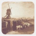 El molino de viento y la cerradura, grabados por pegatina cuadrada