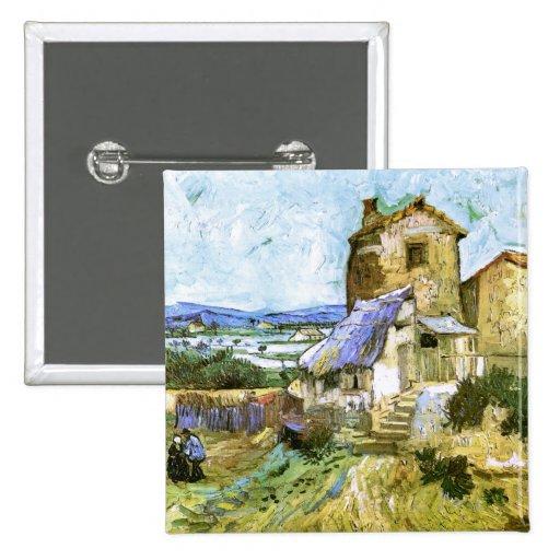El molino viejo, Vincent van Gogh Pin Cuadrada 5 Cm