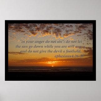 el momento pasado de la puesta del sol con el 4:26 póster