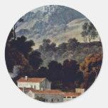 El monasterio de San Francisco en la Sabine Mts Pegatina Redonda