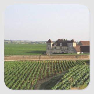 El monasterio del siglo XVI de Clos de Vougeot y Pegatina Cuadrada