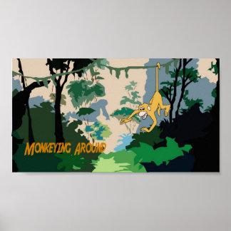 El Monkeying alrededor Póster