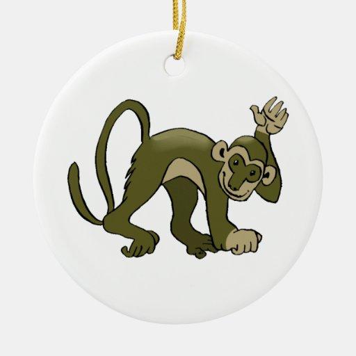 El mono agita en usted adorno redondo de cerámica