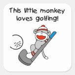 El mono ama el Golfing de las camisetas y de los Colcomanias Cuadradas