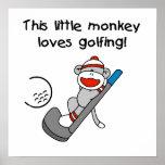 El mono ama el Golfing de las camisetas y de los r Posters