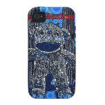 El mono azul enrrollado del calcetín circunda arte vibe iPhone 4 fundas