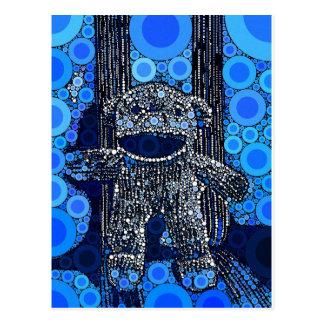 El mono azul enrrollado del calcetín circunda arte postal