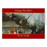 El mono con las frutas florece 2 - el año 2016 del tarjeta de felicitación