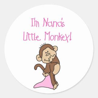 El mono de Nana - camisetas y regalos rosados Pegatina Redonda