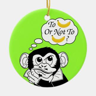 El mono de Shakespeare Adorno Redondo De Cerámica