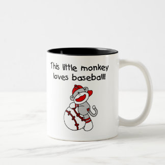 El mono del calcetín ama béisbol taza de dos tonos