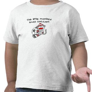 El mono del calcetín ama fútbol camiseta