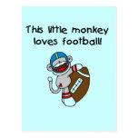 El mono del calcetín ama las camisetas y los regal tarjeta postal