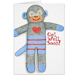 El mono del calcetín consigue la tarjeta bien