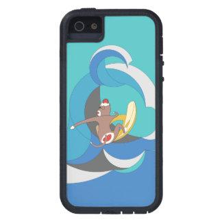 El mono del calcetín fue a practicar surf plátanos iPhone 5 fundas