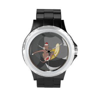 El mono del calcetín fue a practicar surf plátanos relojes de pulsera