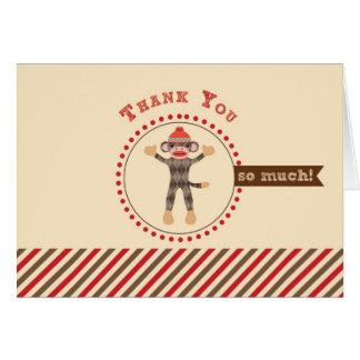 El mono del calcetín le agradece cardar tarjeta pequeña
