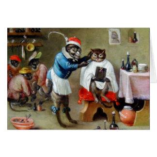 El mono del peluquero tarjeta de felicitación