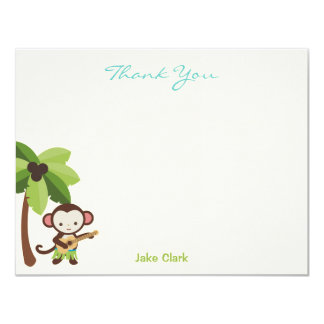 El mono del Ukulele le agradece cardar Invitación 10,8 X 13,9 Cm