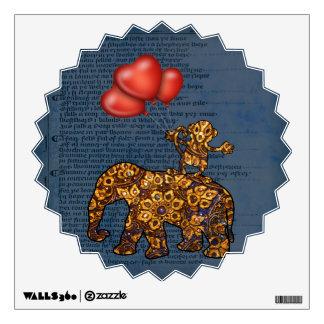 El mono en elefantes apoya los globos del corazón