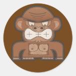 El mono enojado del burro - fondo adaptable pegatina redonda