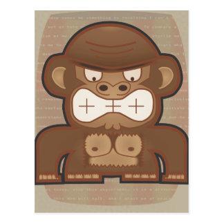 El mono enojado del burro - silenciado tarjeta postal