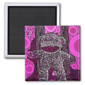 El mono enrrollado del calcetín circunda arte pop imán cuadrado