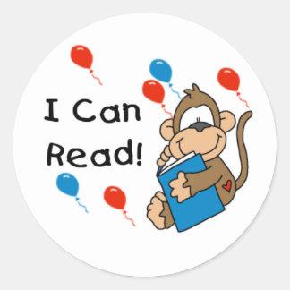El mono I puede leer a los pegatinas Pegatina Redonda