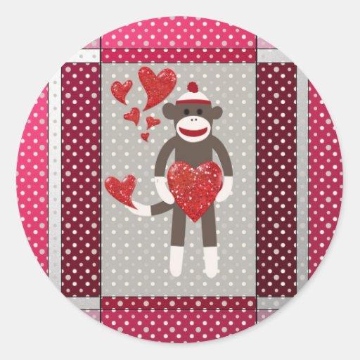 El mono in-love. etiquetas redondas
