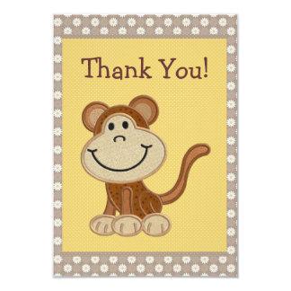 """El mono lindo del bordado le agradece fiesta de invitación 3.5"""" x 5"""""""