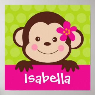 El mono lindo personalizó a los niños conocidos de póster