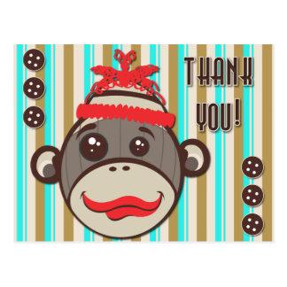 El mono loco del calcetín del gorra le agradece po tarjetas postales