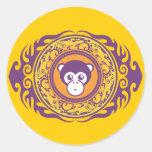 El mono púrpura etiquetas redondas