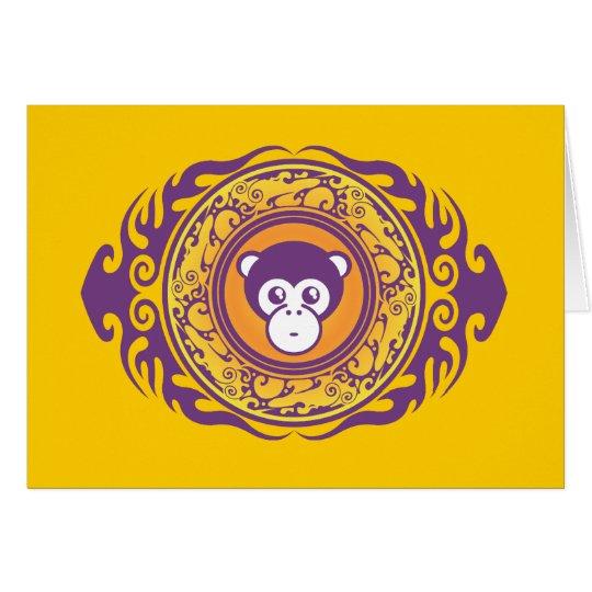 El mono púrpura tarjeta de felicitación
