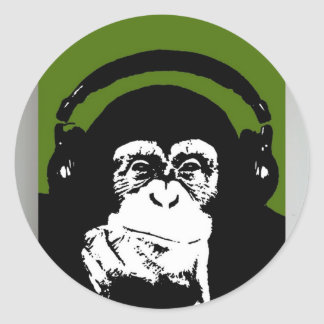 El mono sabe música pegatina redonda