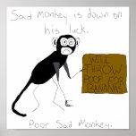 El mono triste está abajo en su poster de la suert