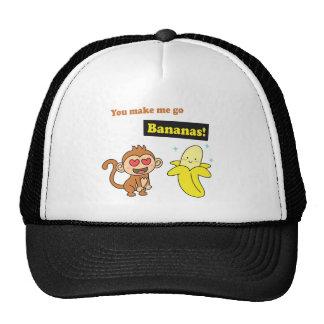 El mono va los plátanos, humor lindo del amor gorras